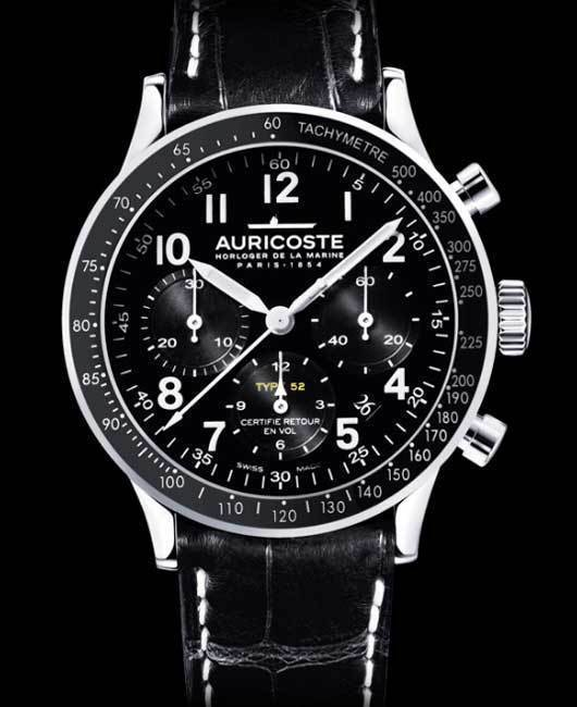 Auricoste Type 52 : beau chronographe tricompax militaire
