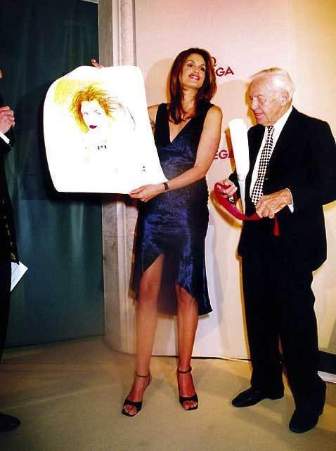 Omega : un portrait de Cindy Crawfort exécuté par René Gruau exposé à Miami