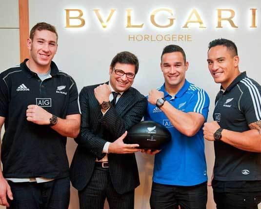 Bulgari : trois All Blacks visitent les sites horlogers de Bulgari