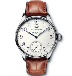 Portugaise IWC F.A. Jones en acier et bracelet crocodile réf : IW544203