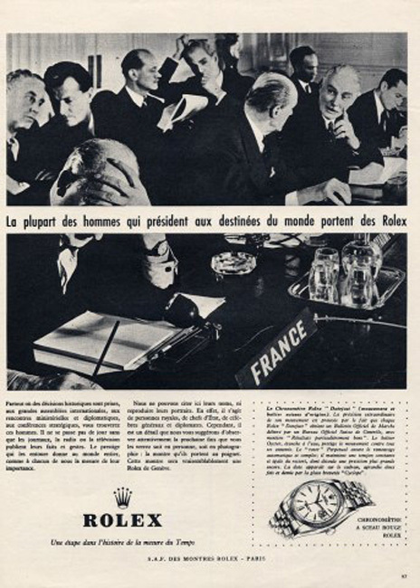 Publicité Rolex des années 60
