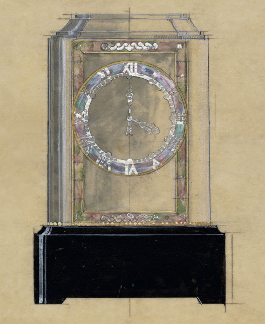 Dessin de création pour une pendule mystérieuse de type Modèle A réalisée en cristal de roche, nacre, or jaune, onyx et diamants, 1929 Crédit photo Archives Cartier