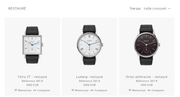 Bon plan chez Nomos avec une sélection de montres restaurées vendues en ligne