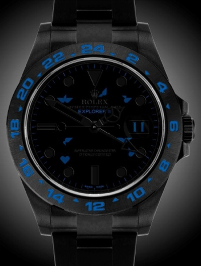 Rolex Bleu on Black Les Jardins de Florian