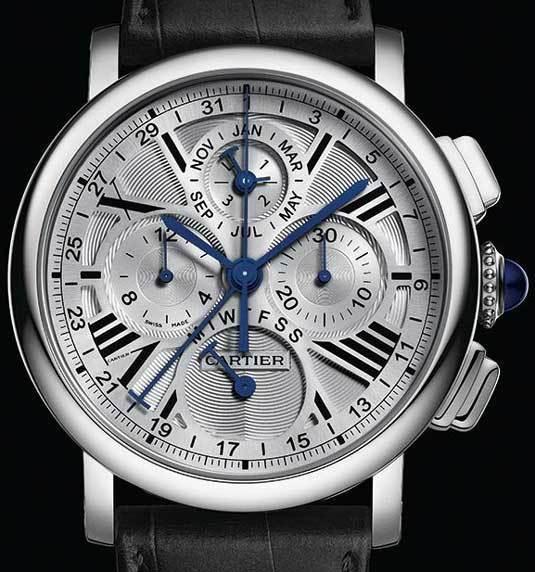 Cartier Rotonde Quantième Perpétuel Chronographe or gris