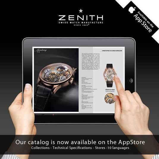 Zenith : le catalogue de la manufacture disponible sur une appli Apple
