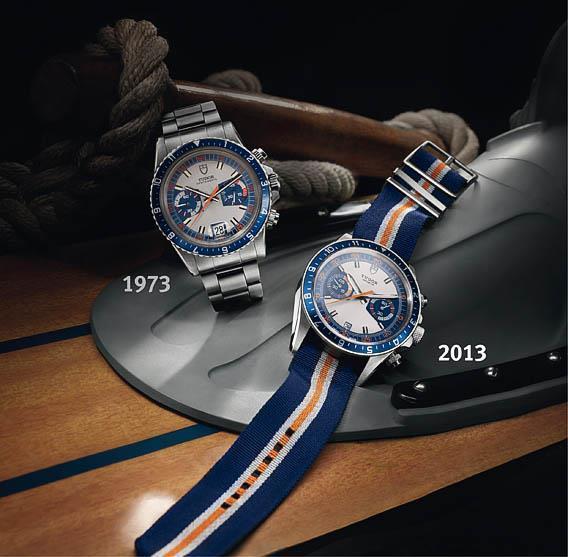 Tudor Heritage Chrono Blue : du bleu et du orange pour un chrono au design vintage