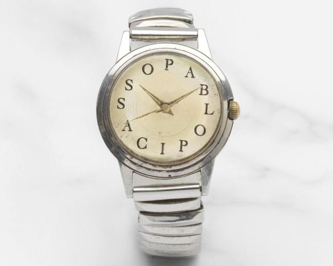 L-R, Rare 'Picasso watch', Michael Z. Berger Co pour Pablo Picasso, c.1960, estimate €12,000 – 18,000; Pablo