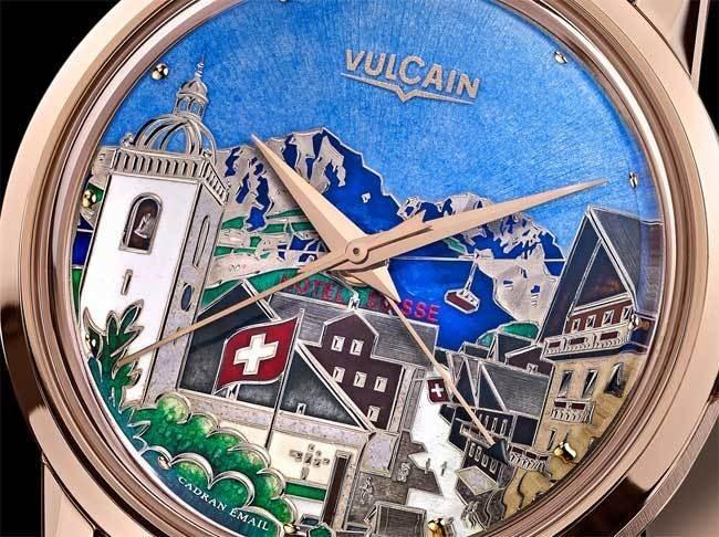 Vulcain un été à Champéry : toute la beauté de l'émail champlevé grand feu en série limitée