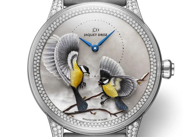Jaquet Droz Petite Heure Minute Relief Saisons : la beauté des oiseaux… en « 3 D »
