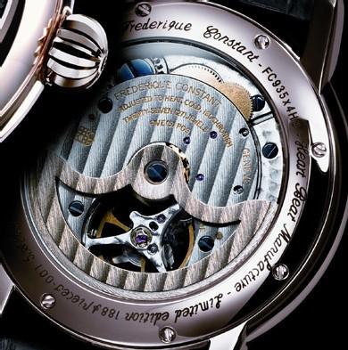 La Frédérique Constant Calibre Heart Beat FC 935 Silicium est équipée d'une roue d'échappement… en silicium