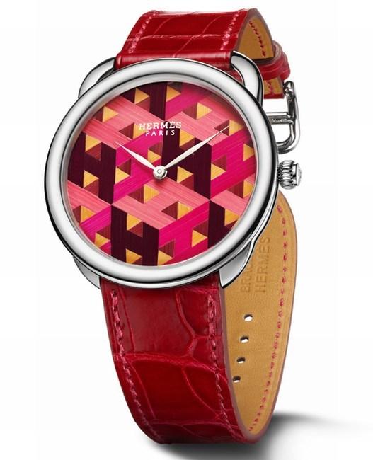 Hermès Arceau H Cube marqueterie de paille