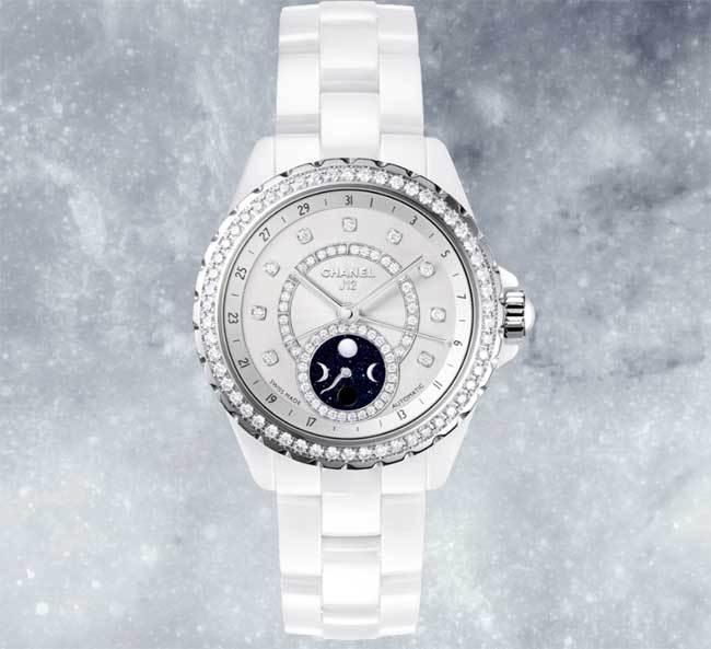 Chanel J12 Moonphase céramique blanche et diamants