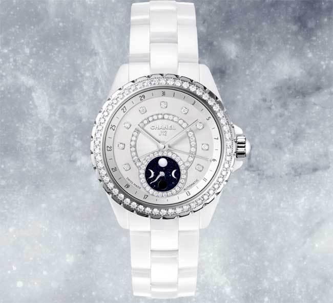 Chanel J12 Moonphase céramique blanche et diamants