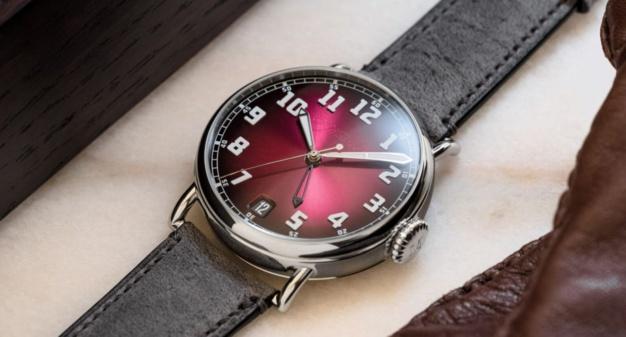 Moser Heritage Dual Time : bordeaux fumé GMT