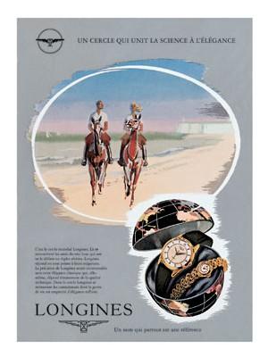 Affiche publicitaire de Longines évoquant la vocation d'élégance de la marque, 1954.
