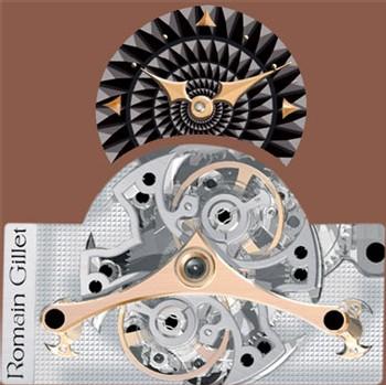 Rudy Silva, série Romain Gillet : double régulateur à résonance avec grande date et sonnerie, en or ou platine