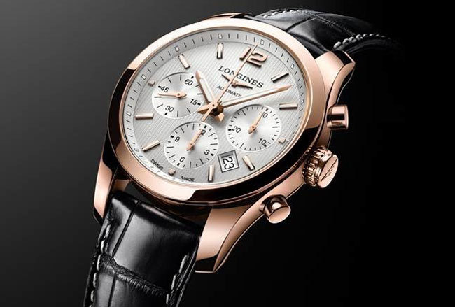 Chronographe Longines Conquest Classic en or rose