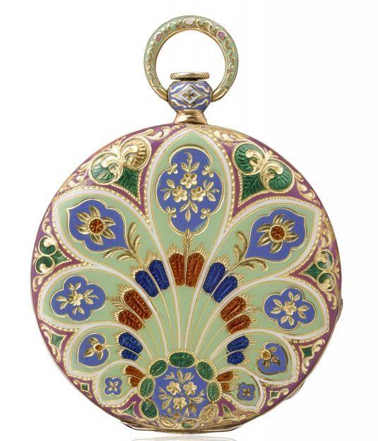 1831 - Montre de poche, or jaune 18K, boîte en champlevé émaillé, fleurs gravure en creux, fondant de finition. Cadran guilloché.