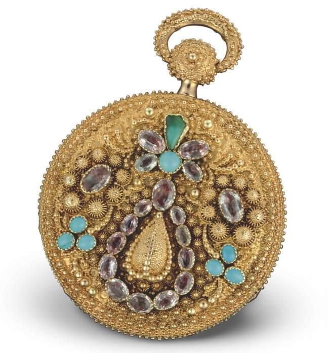 1824 - Montre de poche, or rose, boîte ciselée décor floral et appliques en ramolayé, rehaussée de turquoises et d'améthystes. Cadran or rose.