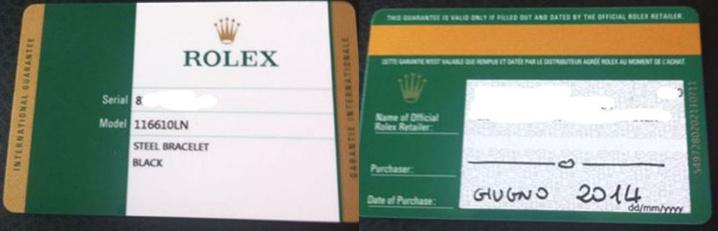 carte de garantie Rolex