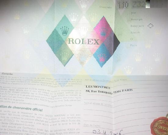 ancienne garantie Rolex