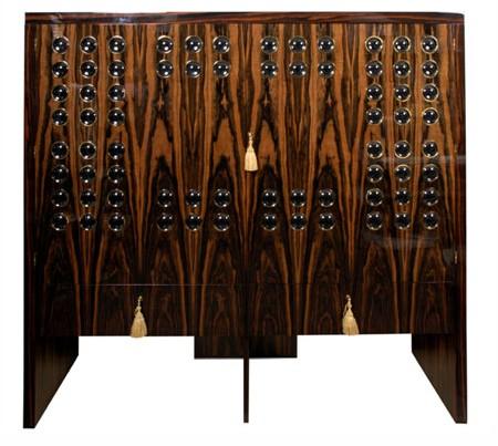 Cabinet Elie Bleu en ébène de Macassar pour 100 montres