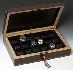 Coffret en bois de palissandre Elie Bleu pour 18 montres