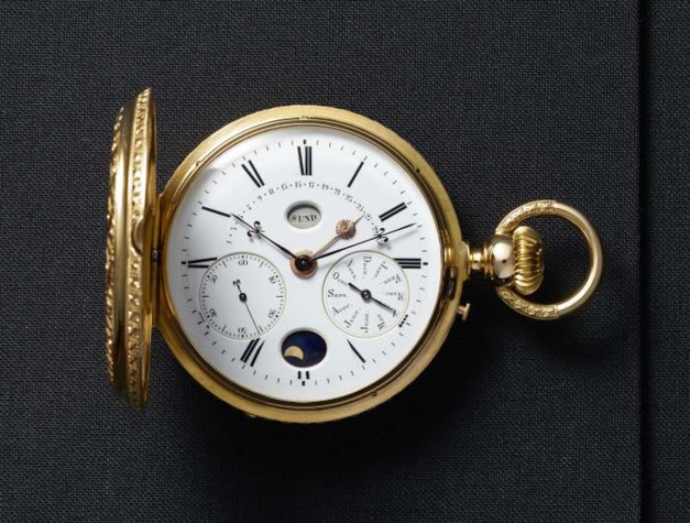 1890. Annual calendar hunter pocket-watch with retrograde date