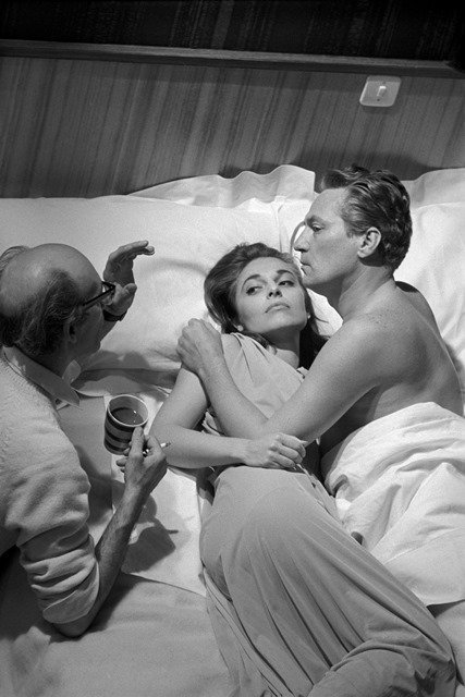 Anne Bancroft, Peter Finch and Jack Clayton on The Pumpkin Eater.  1963 © Eve Arnold  Magnum