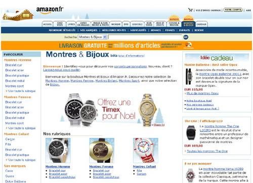Amazon.fr boutique Bijoux et Montres