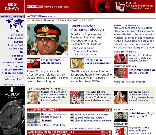 Hublot devient annonceur sur le site Internet de la BBC World