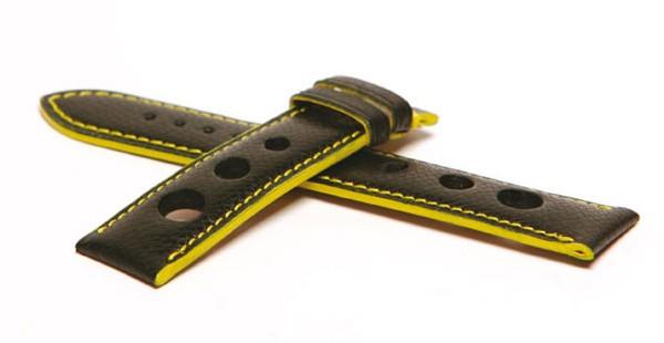 Bracelet en veau grainé avec trous sport larges, fil et tranches jaunes