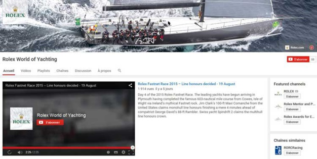 Rolex World of Yachting : lancement d'une chaine voile sur YouTube