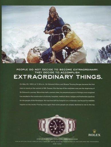 Publicité Rolex pour son modèle Explorer