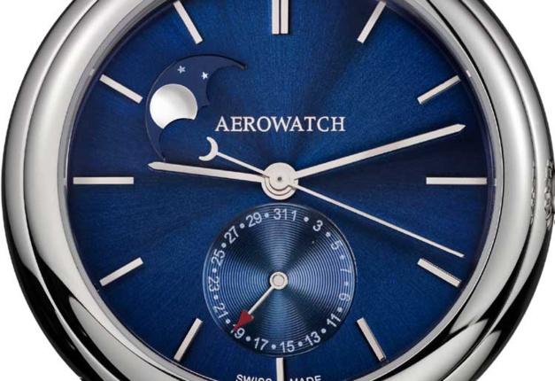 Aerowatch 1942 Phases de Lune Automatique : cadran bleu