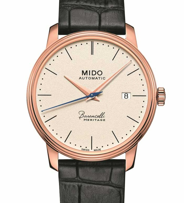 Mido Barconcelli Heritage PVD or rose