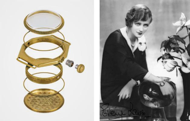 Eclaté du boîtier Oyster originel et l'actrice Evelyn Laye démontre l'étanchéité de sa Rolex Oyster dans les années 1930