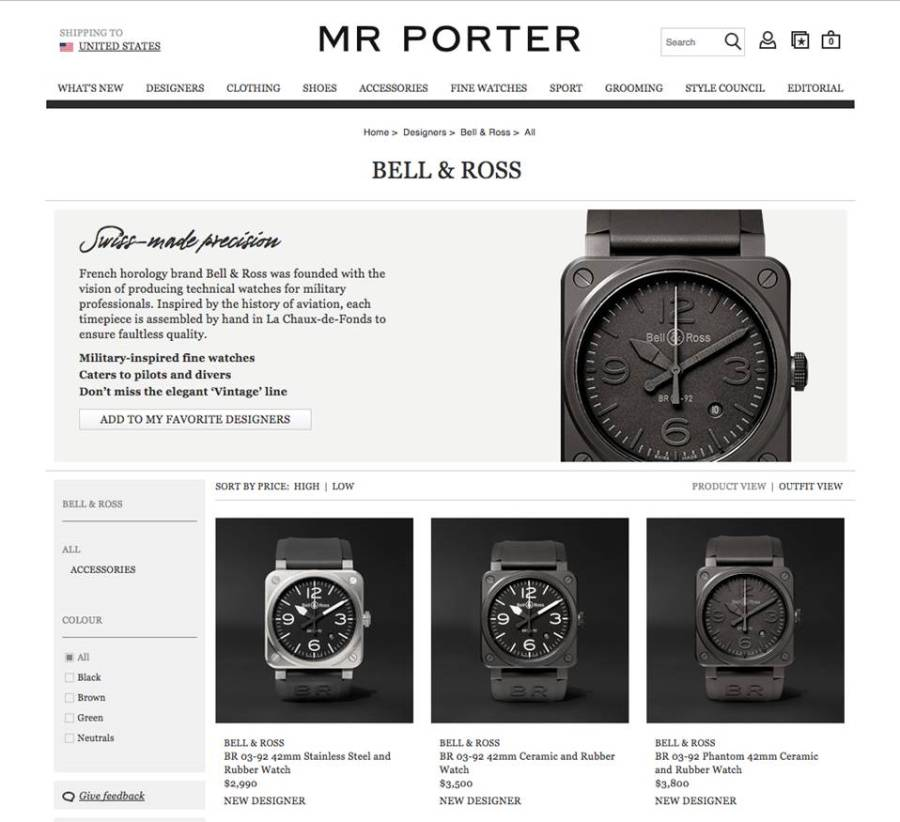 Bell & Ross intègre le catalogue Mr Porter