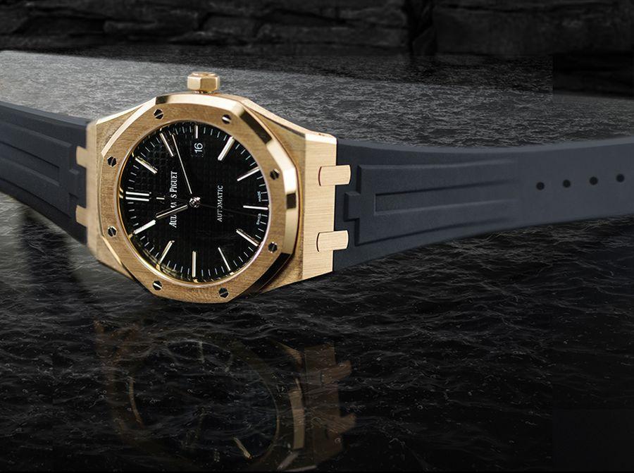 Rubber B présente un tout nouveau strap pour les Royal Oak 41 mm en or