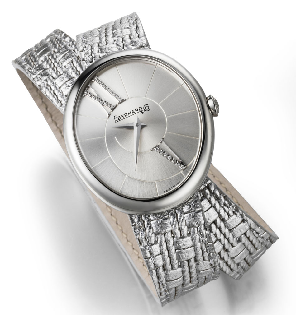 """Eberhard & Co : la Gilda se pare d'un bracelet """"argent"""" en cuir"""