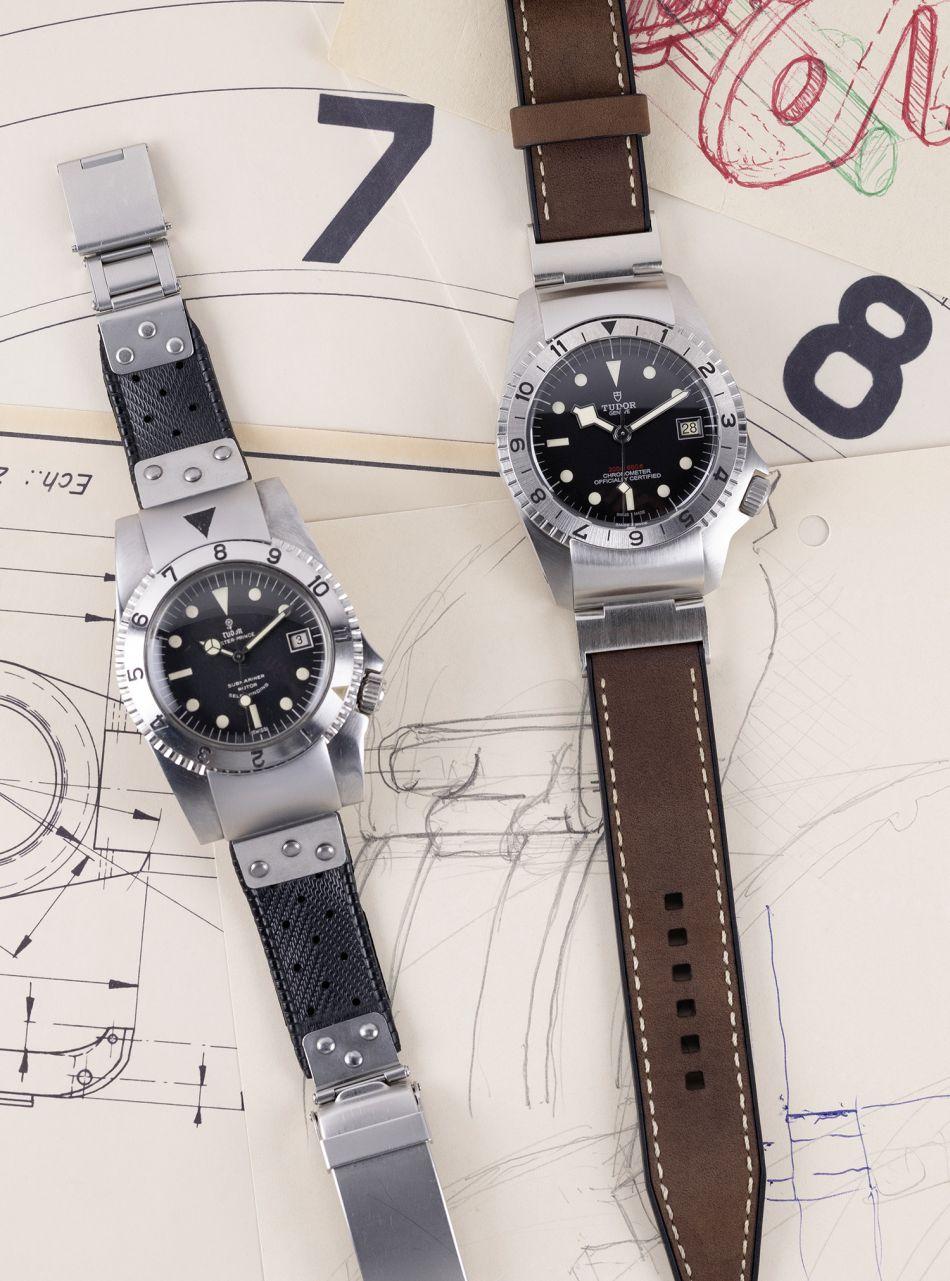 Tudor Black Bay P01 : le proto à gauche et la montre actuelle à droite