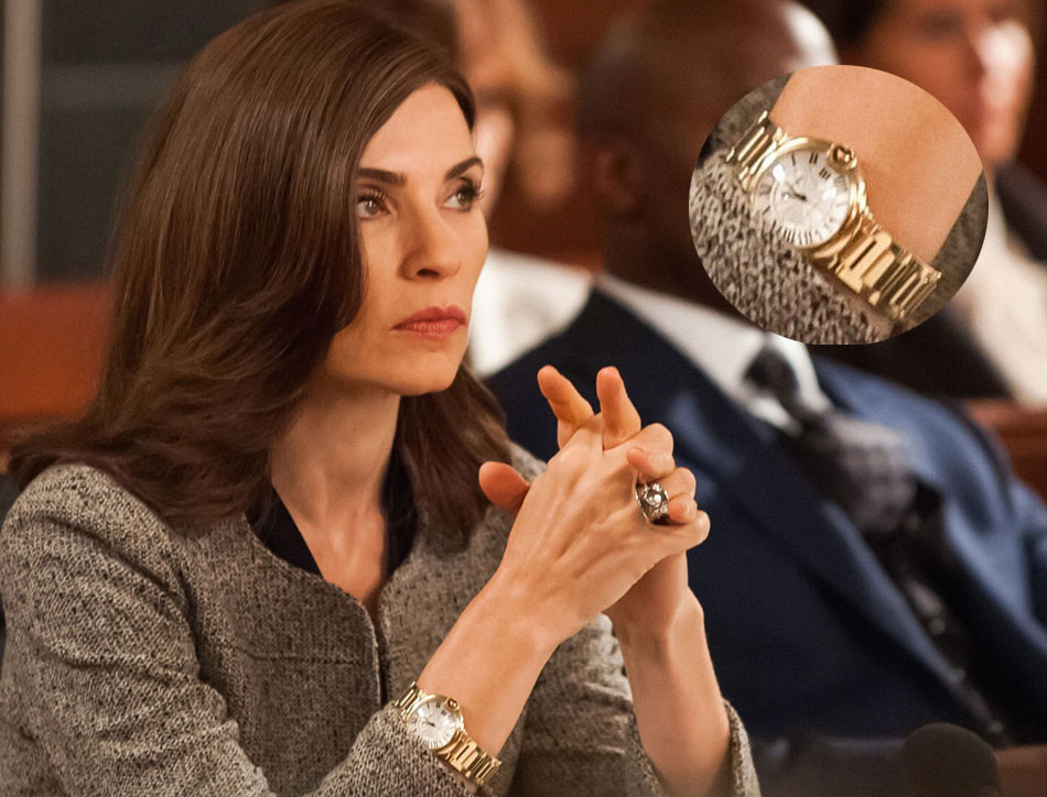 The good wife : Julianna Margulies porte une Ballon Bleu en or jaune de chez Cartier