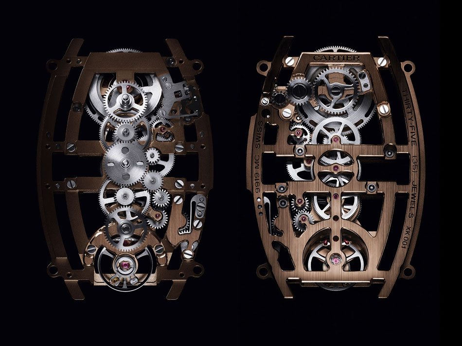Cartier : une splendide montre Tonneau double fuseau horaire et squelette