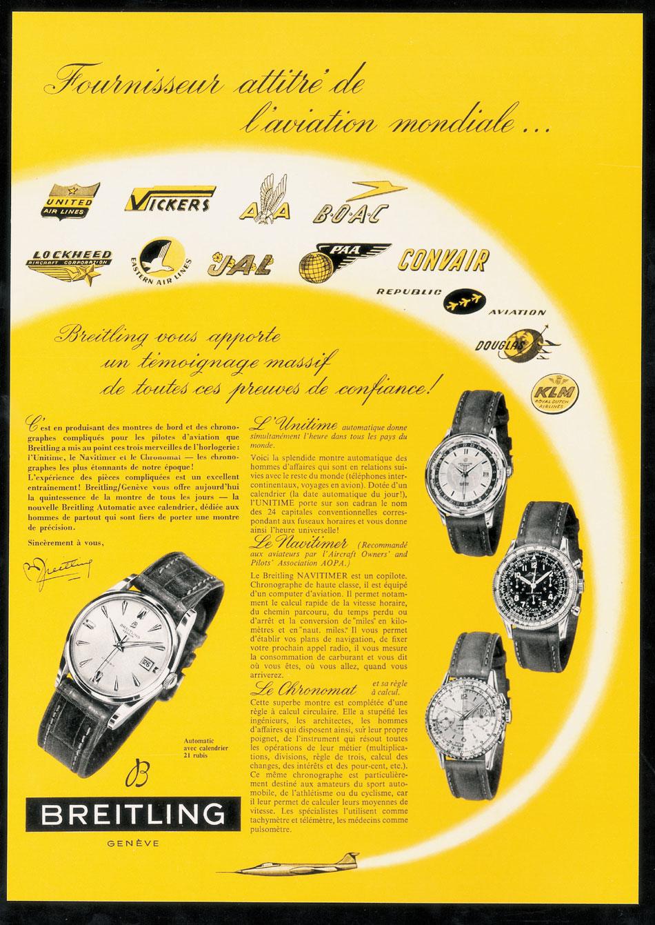 Publicité Breitling vintage