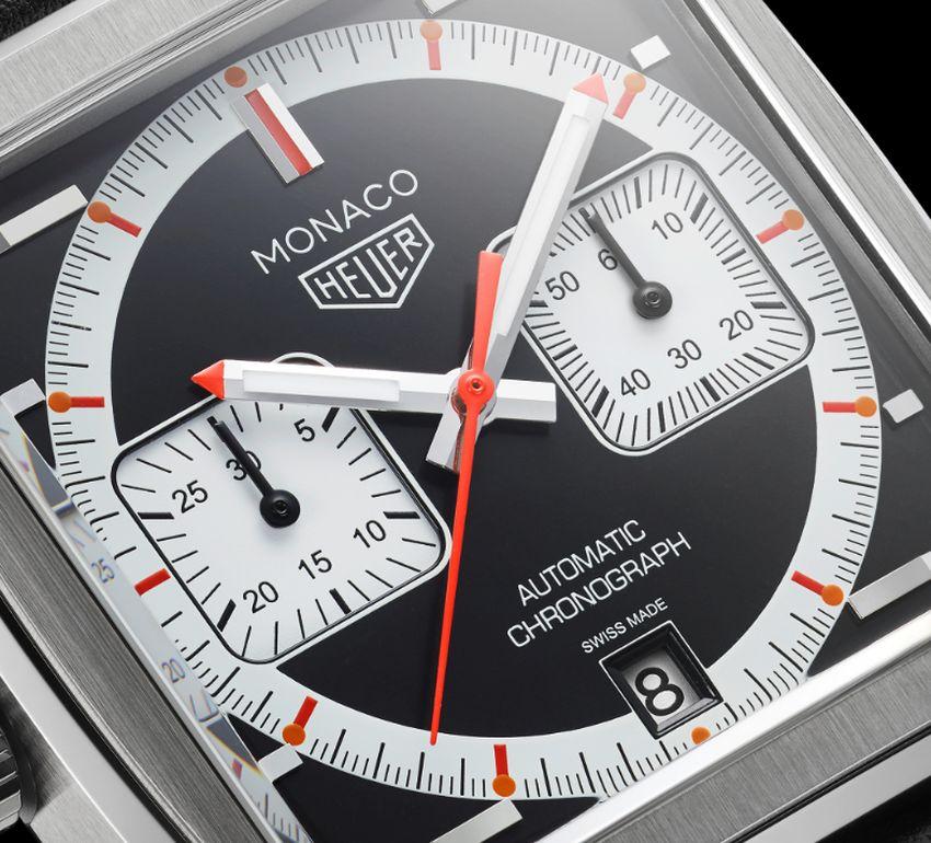 """TAG Heuer Monaco 50ème anniversaire : look """"noir, blanc et orange"""" pour les années 2000"""