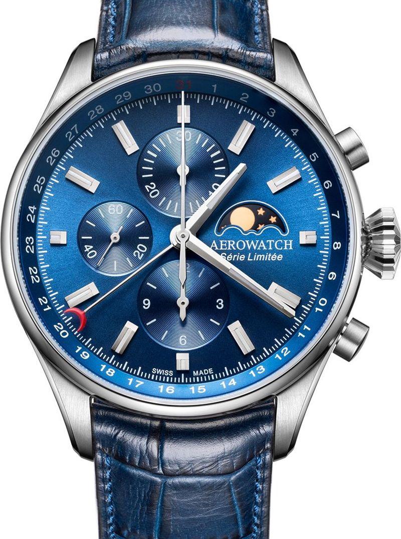 Aerowatch Les Grandes Classiques Chrono date et phase de Lune