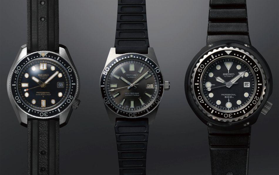 La montre de plongée Hi-Beat de 1968, étanche à 300 m, la référence 62MAS de 1965, étanche à 150 m, et le modèle Professional de 1975, étanche à 600 m