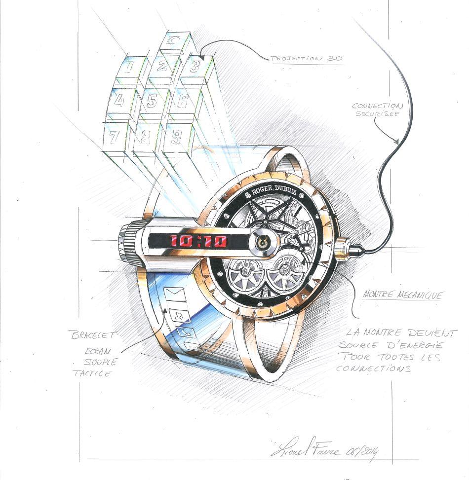 Lionel Favre, responsable du design à l'époque chez Roger Dubuis a conçu un garde temps qui est une véritable fusion entre la tradition horlogère et les outils connectés du futur. L'énergie électrique étant produite par un classique mouvement mécanique horloger à double rotor.