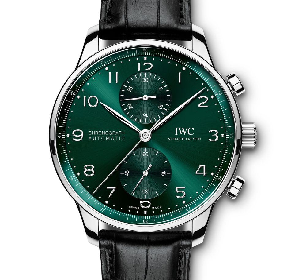 Portugaise IWC cadran vert sur acier